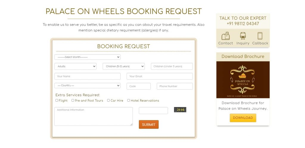 Palace on Wheels Booking
